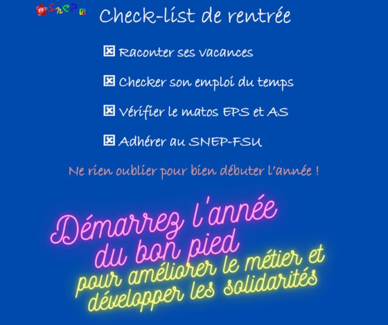 Check-list rentrée SNEP